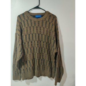 Vintage 80s Brown Textured Patterned Crew Neck Pul